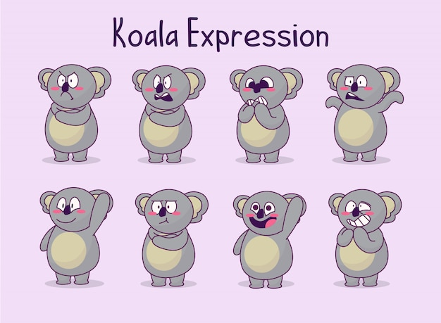 Collection mignonne d'illustration d'expression de koala