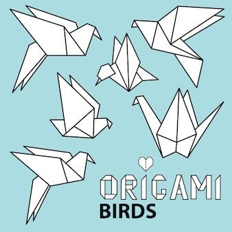 Collection mignonne avec des oiseaux d'origami. ensemble de vecteurs