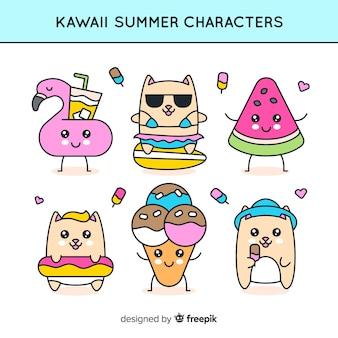 Collection mignonne de personnages kawaii d'été