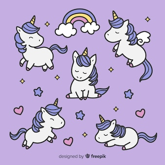 Collection mignonne de personnages de licorne kawaii