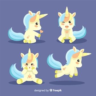 Collection mignonne de personnages de licorne kawaii