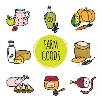 Collection de mignons dessinés à la main des aliments de la ferme biologique