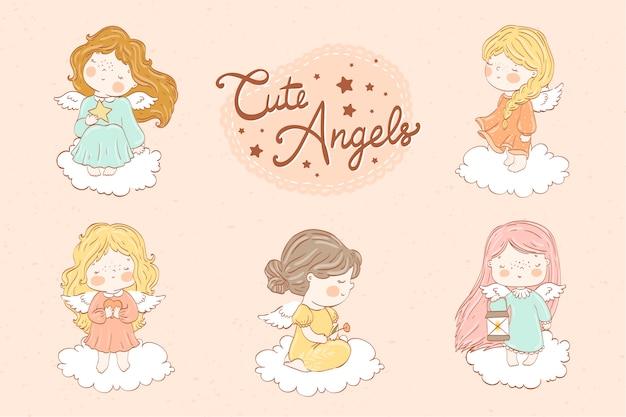 Collection de mignons petits anges ensemble