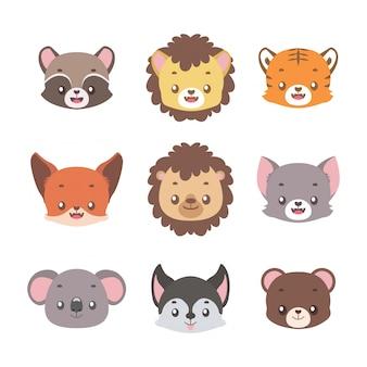 Collection de mignons petits portraits d'animaux