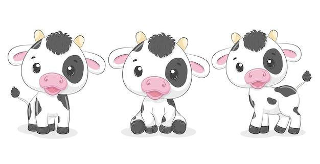 Collection de mignons veaux, vaches. illustration vectorielle d'un dessin animé.
