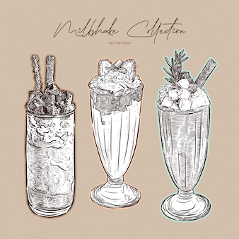 Collection de milkshake, croquis dessiné à la main