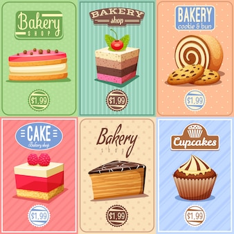 Collection de mini affiches de gâteaux et bonbons