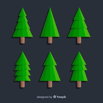 Collection minimaliste d'arbres verts de noël