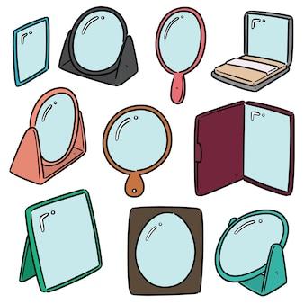 Collection de miroir isolé sur blanc
