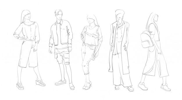 Collection de mode de vêtements ensemble de modèles portant un croquis de vêtements à la mode