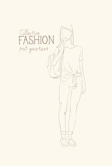 Collection de mode de vêtements femme modèle portant des vêtements à la mode esquisse