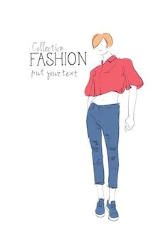Collection de mode de vêtements femme modèle portant des vêtements à la mode