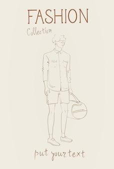 Collection de mode de vêtements modèle masculin portant des vêtements à la mode esquisse