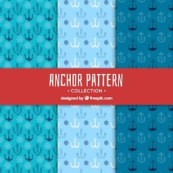 Collection de modèle d'ancre dans les tons bleus