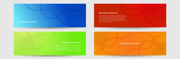 Collection de modèle de bannière colorée. conception de bannière web abstraite. en-tête, éléments de conception de sites web de page de destination. arrière-plans de modèle de conception de bannière web horizontale abstraite