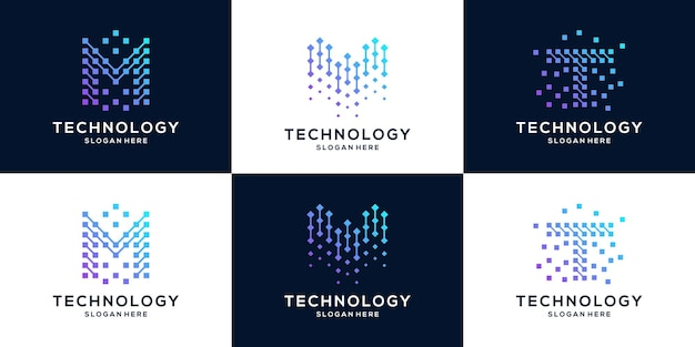 Collection de modèle de conception de logo lettre mw et t.
