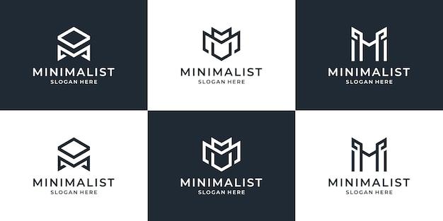 Collection de modèle de conception de logo de ligne de lettre m. monogramme minimal créatif symbole universel élégant logo d'entreprise premium.