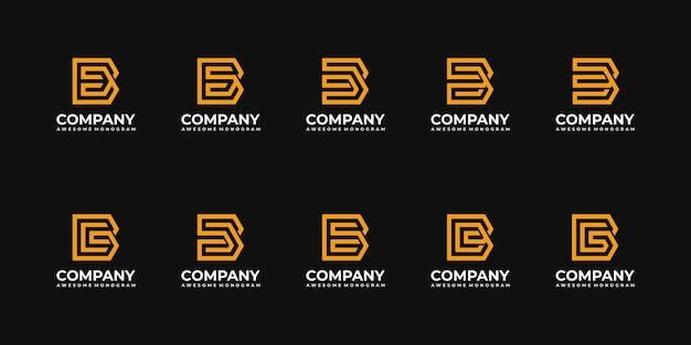 Collection de modèle de conception de logo monogramme lettre b initiale