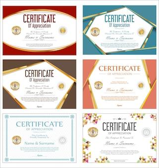 Collection de modèle de conception rétro de certificat ou de diplôme coloré