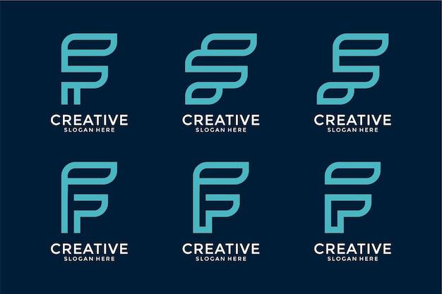 Collection de modèle de conceptions de logo abstrait lettre f