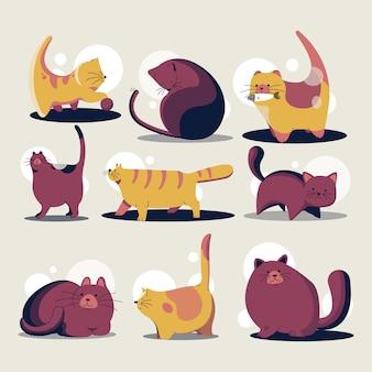 Collection de modèle de dessin animé mignon de chats de dessin animé
