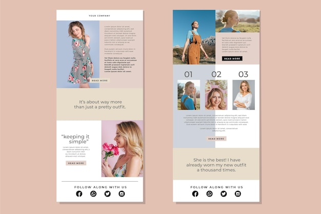 Collection de modèle d'e-mail de blogueur