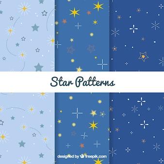 Collection de modèle étoile bleue de trois