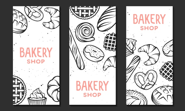 Collection de modèle de flyer de boulangerie linéaire.
