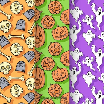 Collection de modèle d'halloween dessiné à la main