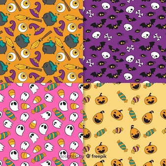 Collection de modèle d'halloween dessiné à la main