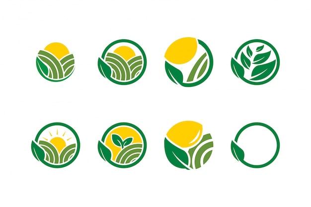 Collection de modèle d'icône de logo d'agriculture de ferme