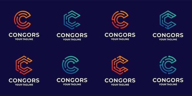 Collection de modèle d'inspiration lettre c logo icône bundle