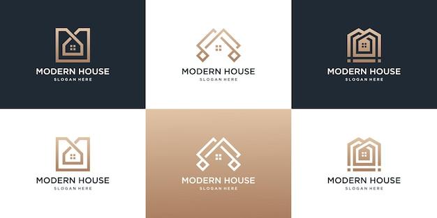 Collection de modèle de logo de maison immobilière.