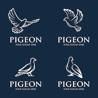 Collection de modèle de logo de pigeon