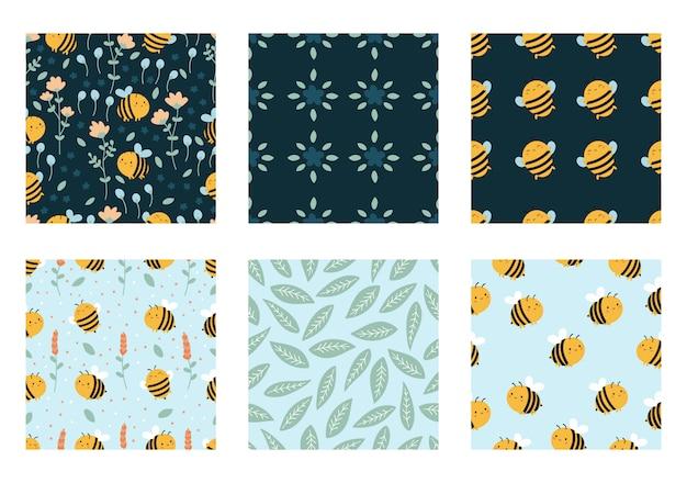 Collection de modèle sans couture d'abeilles et de fleurs. plantes doodle