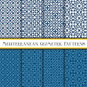 Collection de modèle sans couture méditerranéen géométrique