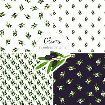 Collection de modèle sans couture d'olives avec feuille verte