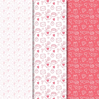 Collection de modèle sans couture plat saint-valentin avec illustration mignonne