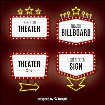 Collection de modèle de signe de théâtre plat