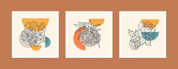 Collection de modèles d'affiche boho art ligne fleurs.