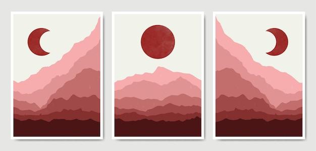 Collection de modèles d'affiche boho paysage contemporain abstrait.
