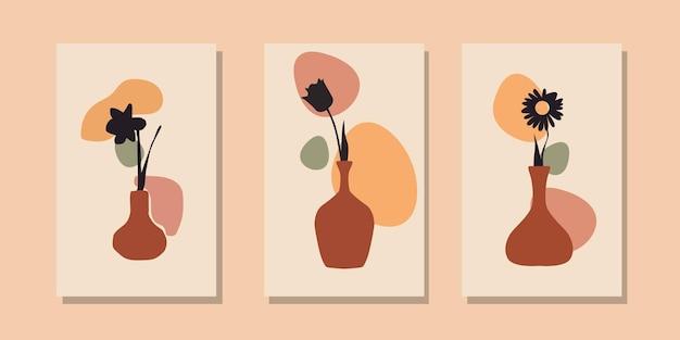 Collection de modèles d'affiches abstraites de vase à fleurs contemporain boho moderne