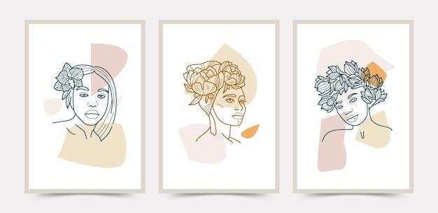 Collection de modèles d'affiches boho art ligne visage et fleurs.