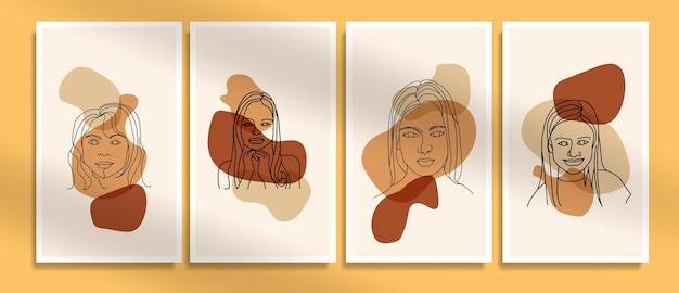 Collection de modèles d'affiches boho contemporaines abstraites contemporaines du milieu du siècle visage moderne ligne art portraits
