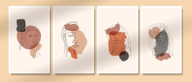 Collection de modèles d'affiches boho contemporaines abstraites contemporaines du milieu du siècle