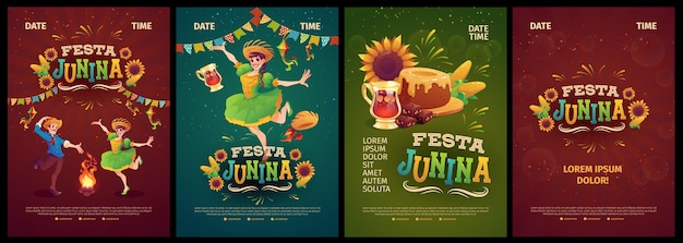Collection de modèles d'affiches réalistes festa junina