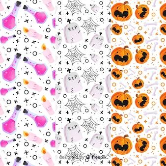 Collection de modèles d'aquarelle halloween