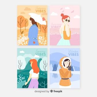 Collection de modèles d'aquarelles affiche saisonnière