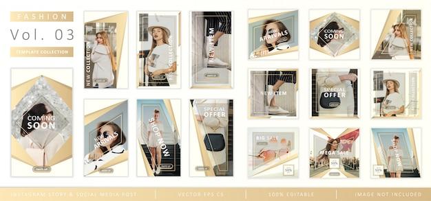 Collection de modèles d'articles de mode et d'articles de médias sociaux sur instagram