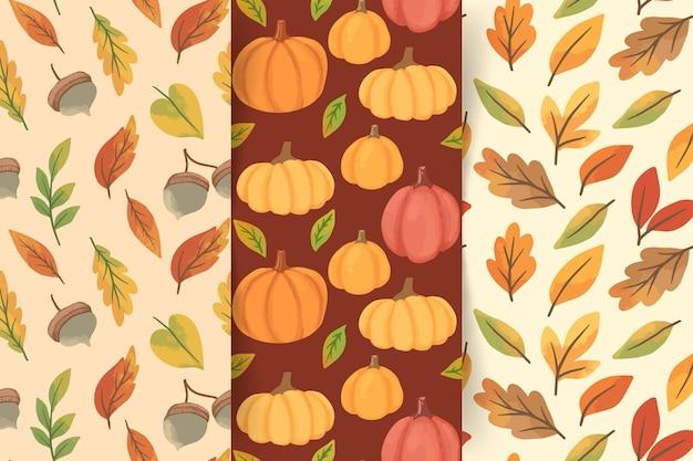 Collection de modèles d'automne aquarelle